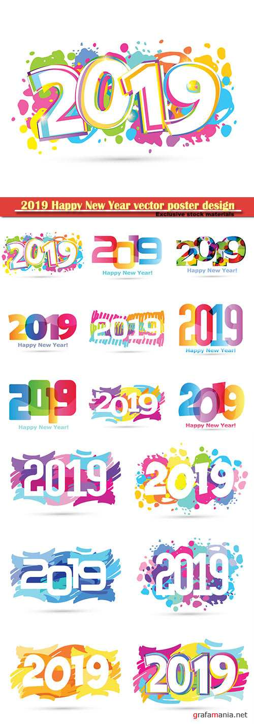 2019 Happy New Year vector poster design template
