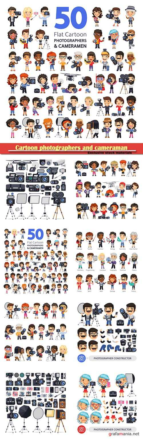 Сartoon characters of photographers and cameraman in various poses with cameras, camcorders and equipment