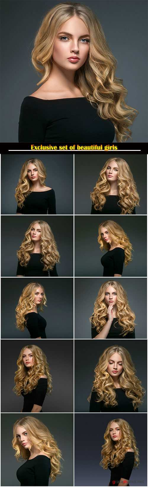 Beauty woman face portrait, model girl with curly long beauty hair