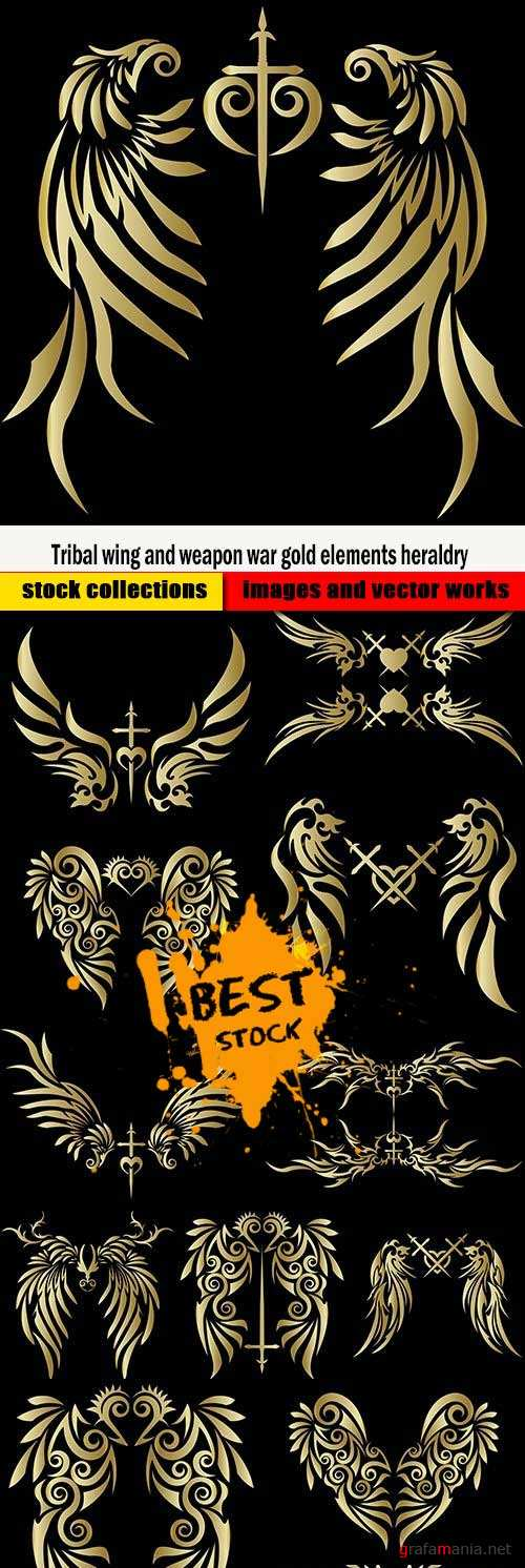 Tribal wing and weapon war gold elements heraldry
