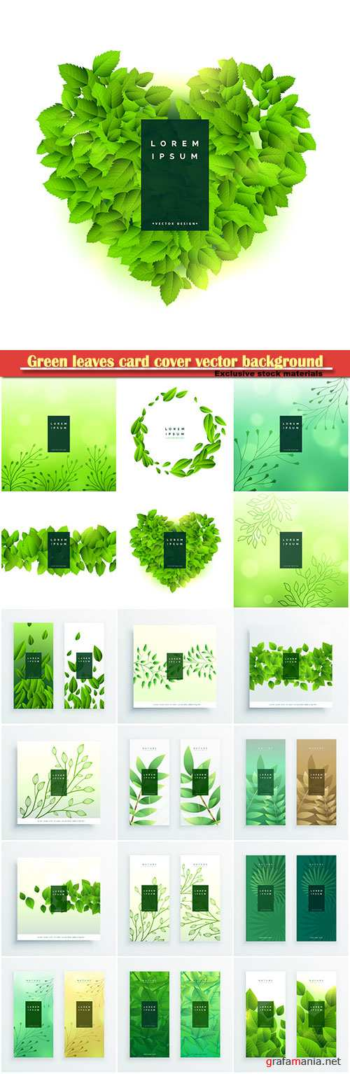 Green leaves card cover vector background