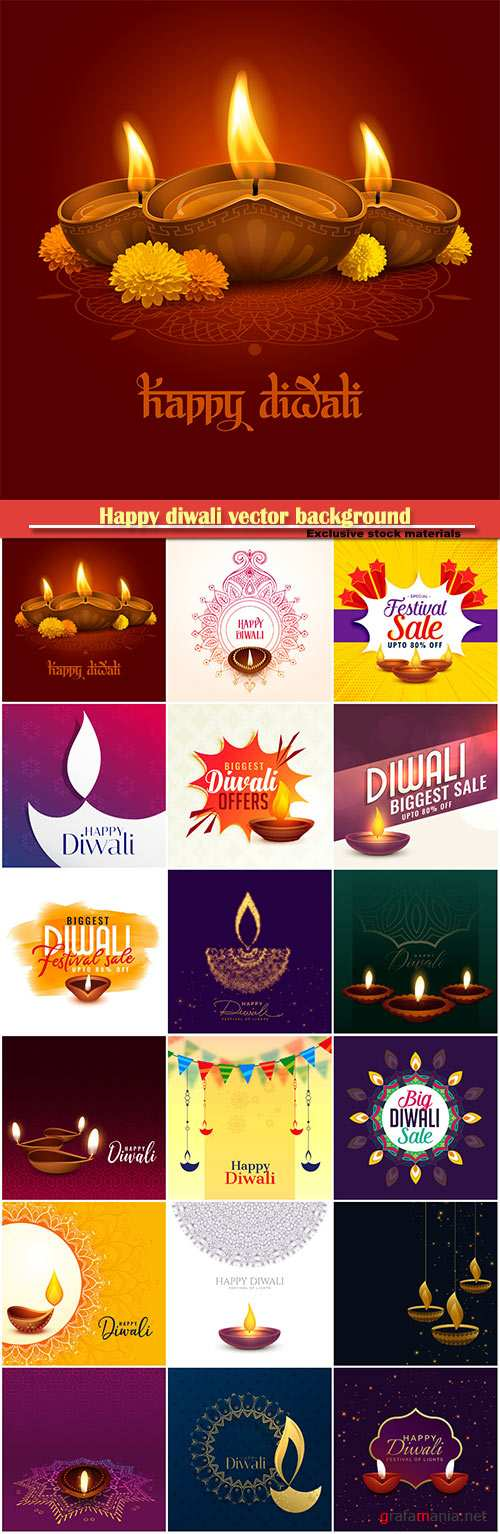 Happy diwali vector background with diya and sparkles