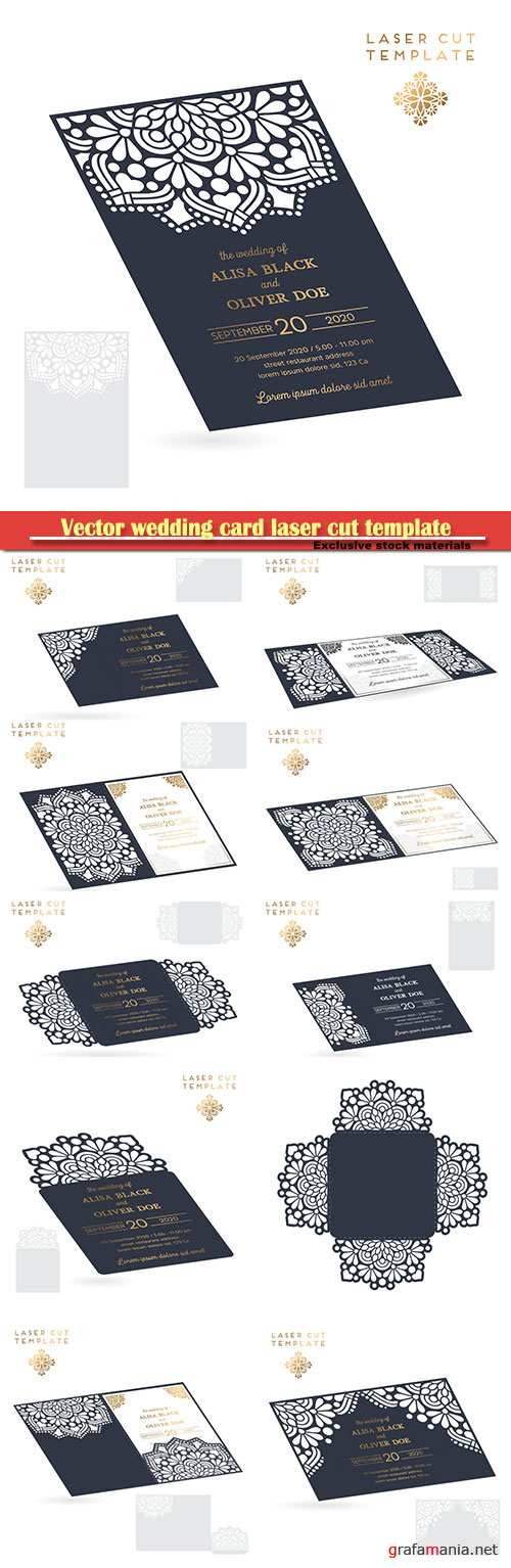 Vector wedding card laser cut template, decorative elements hand drawn background