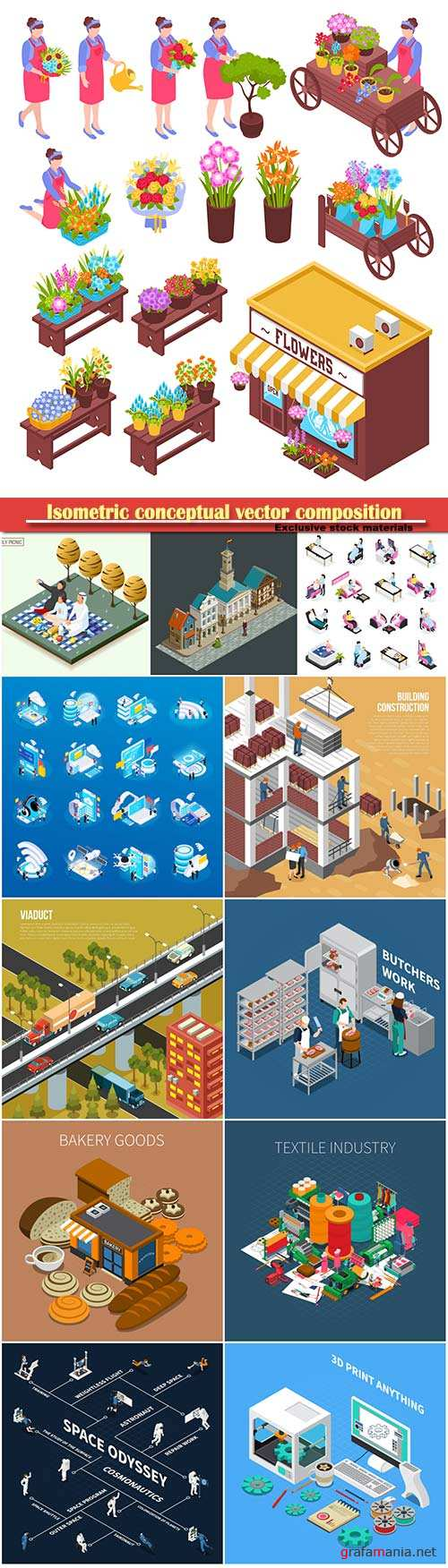 Isometric conceptual vector composition, infographics template # 40