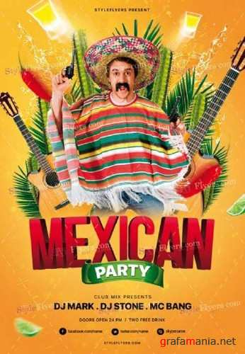 Mexican Party V15 2018 PSD Flyer Template