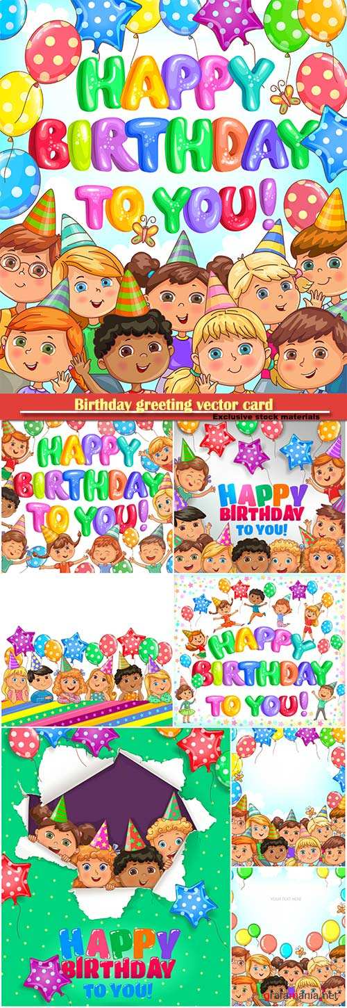 Birthday greeting vector card, banner with balloons and funny kids