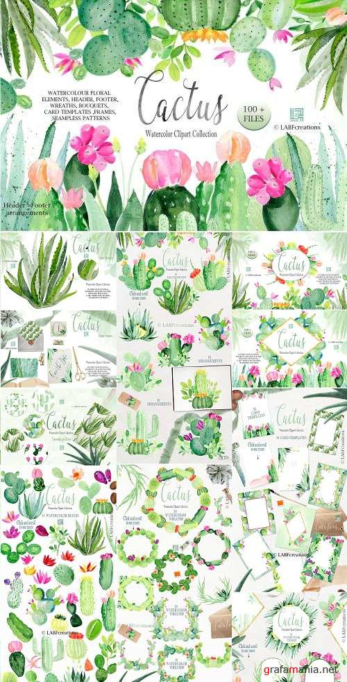 Cactus watercolr clipart collection - 2639697