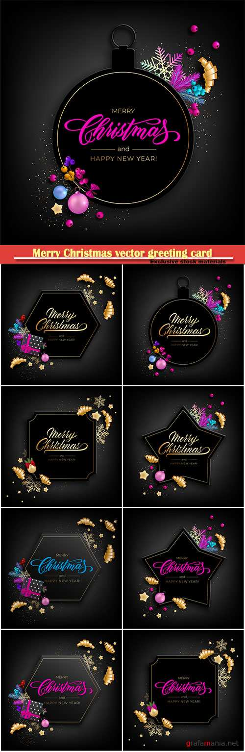 Merry Christmas vector greeting card, decorated with Christmas balls, gold stars, snowflakes, curling party ribbons