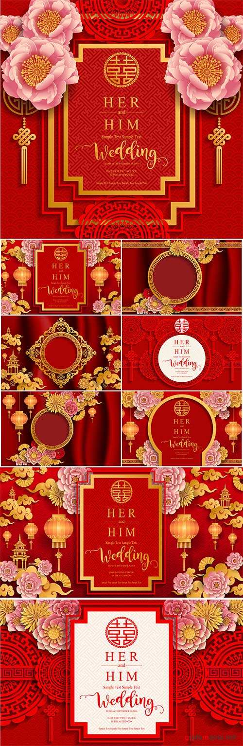 Chinese wedding with flowers vector background