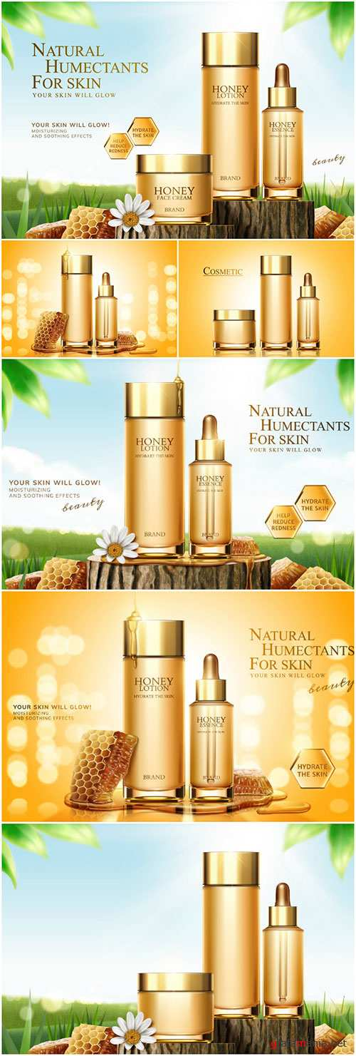 Honey skincare ads in 3d vector illustration