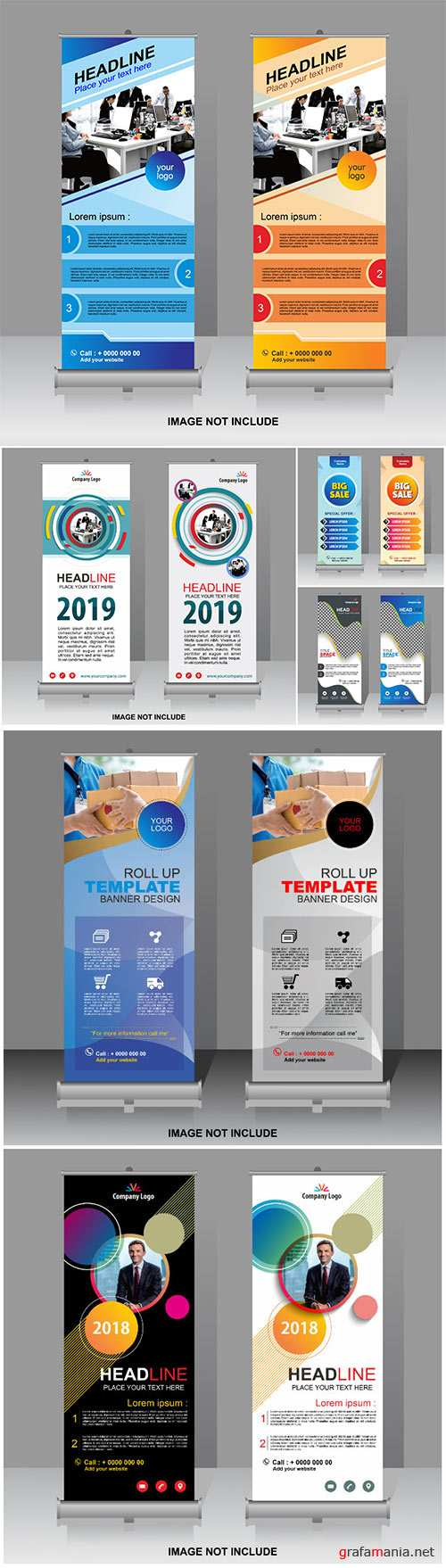 Roll up banner vector template, company logo
