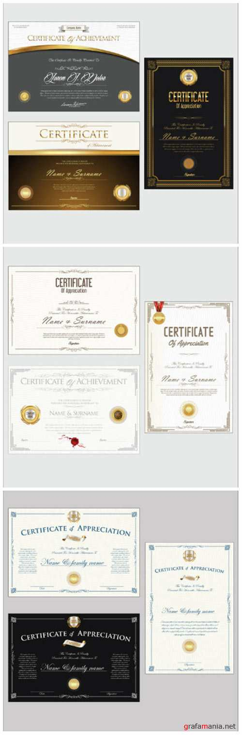 Certificate or diploma retro design vector collection