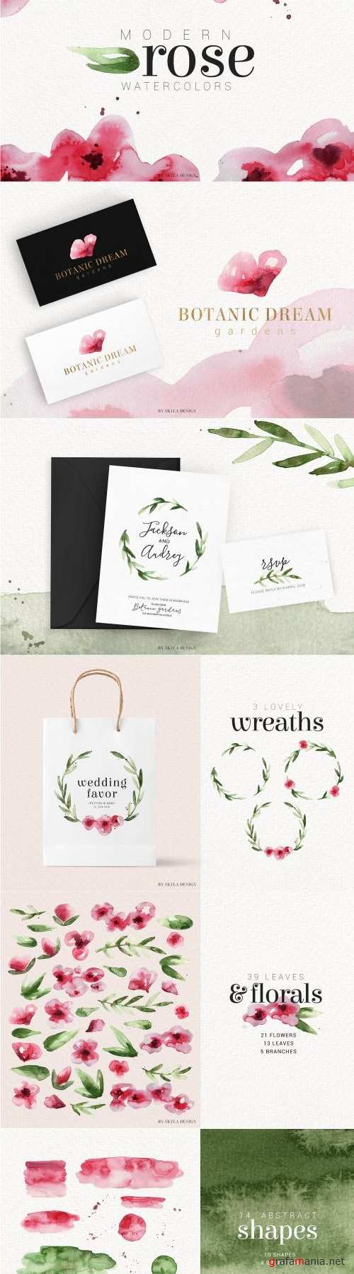 Modern Rose watercolor clipart - 2669447
