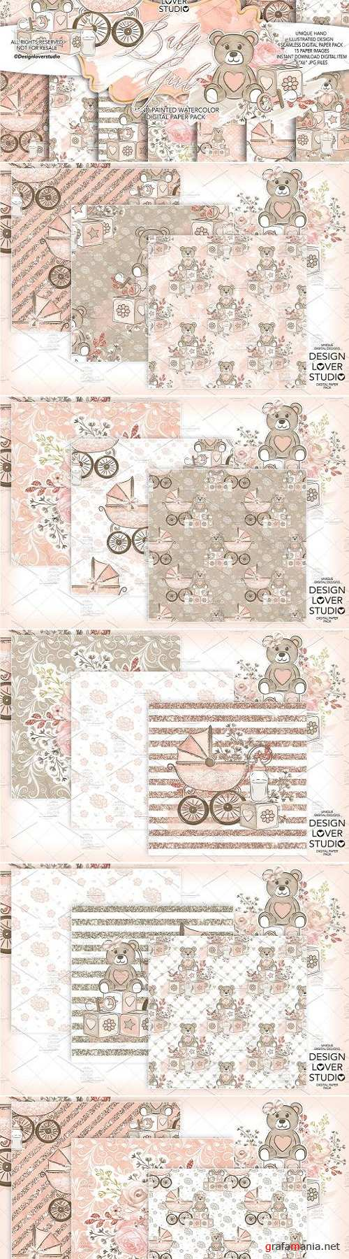 Baby girl digital paper - 3036662