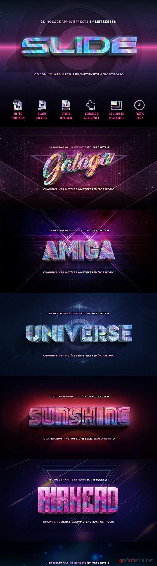 3D Holographic Text Effects 22377756
