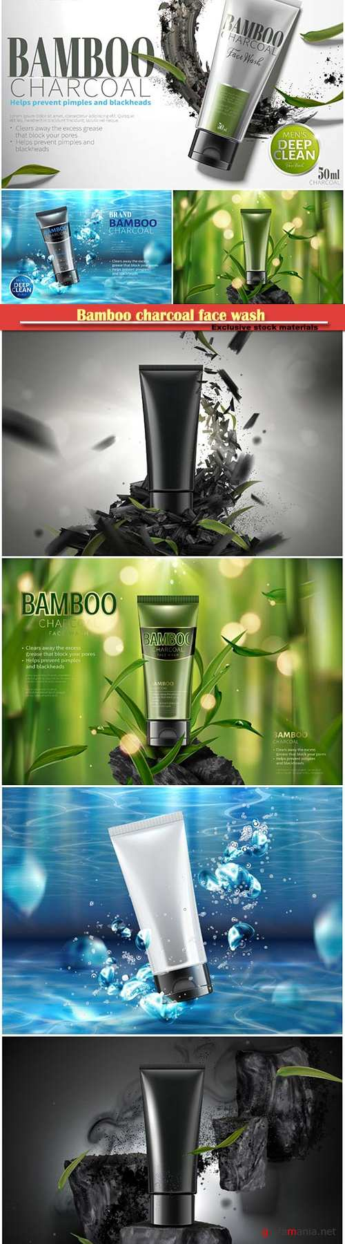 Bamboo charcoal face wash in 3d vector illustration