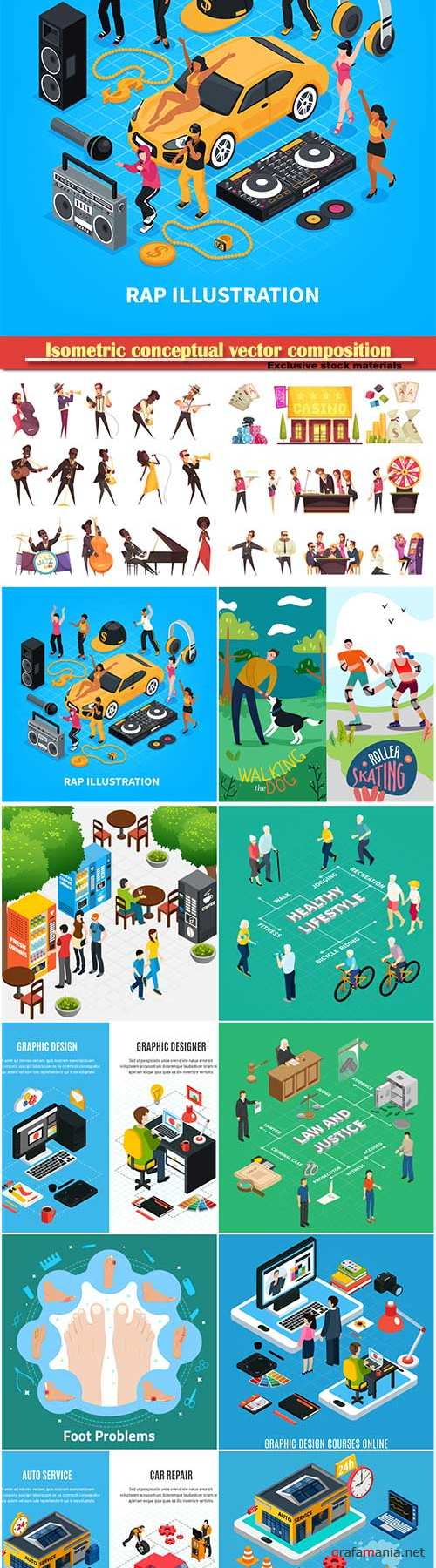 Isometric conceptual vector composition, infographics template # 53
