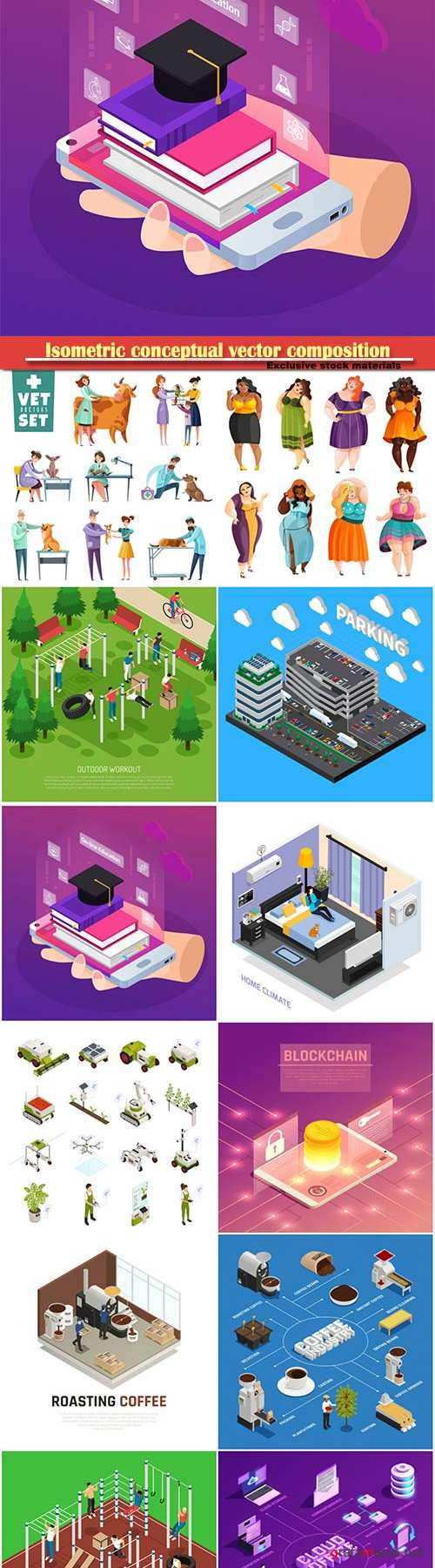 Isometric conceptual vector composition, infographics template # 52