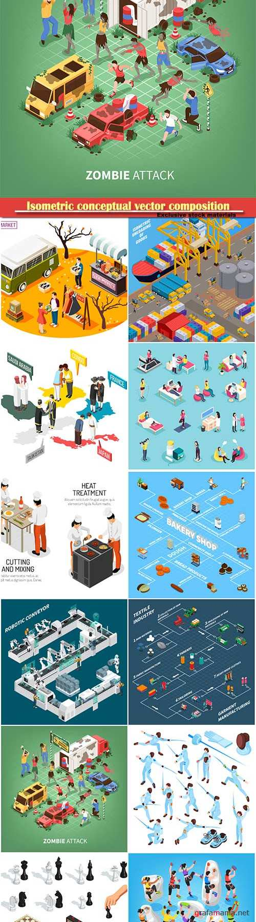 Isometric conceptual vector composition, infographics template # 55