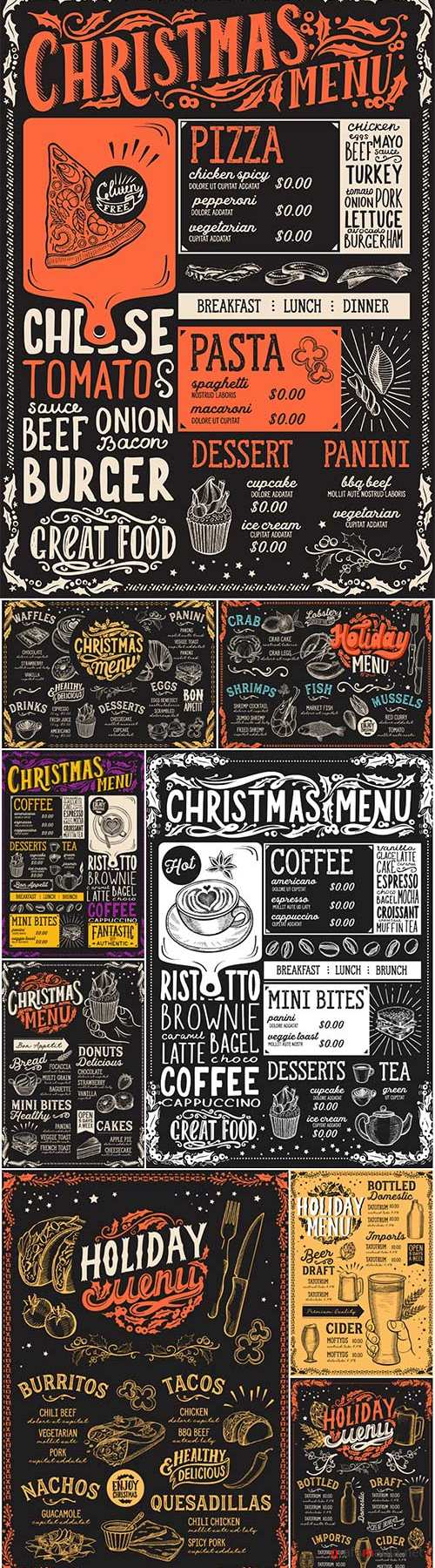Christmas menu for restaurant, food vector template