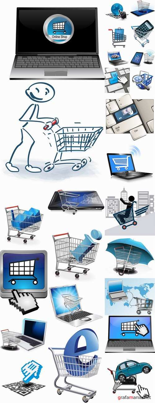 Shopping cart online shopping laptop tablet computer network 25 EPS
