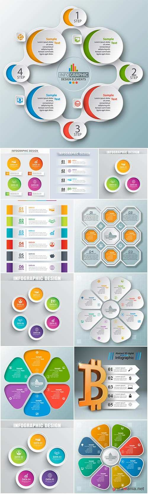 Vector abstract 3d paper business infographic elements