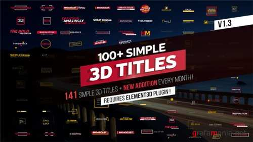 100+ Simple 3D Titles V1.3 - After Effects Project (Videohive)