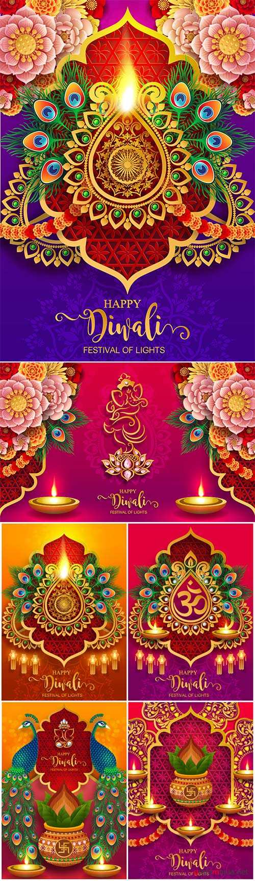 Happy Diwali festival vector card with gold diya patterned
