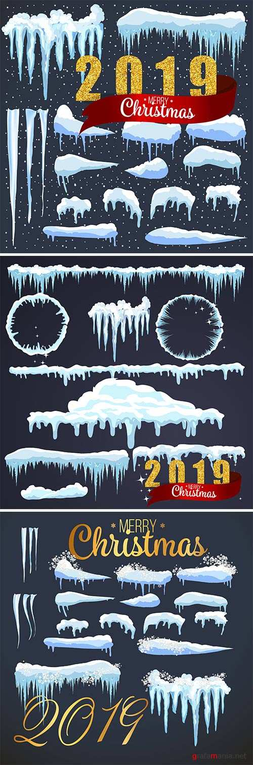 2019 Merry Christmas background, snowflakes and icicles, snow caps set