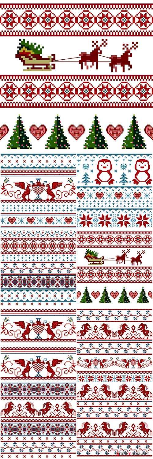 Knitted Christmas seamless pattern ornament with Santa Claus, Christmas tree, deer