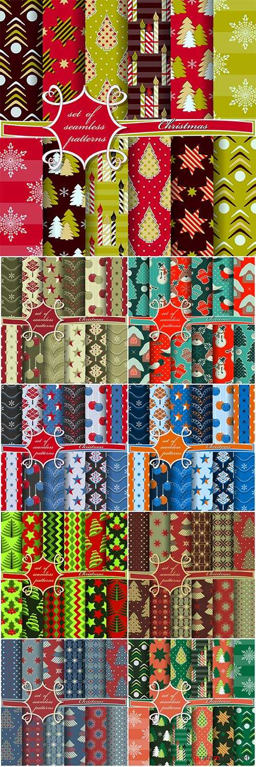 Set of vector seamless Christmas patterns