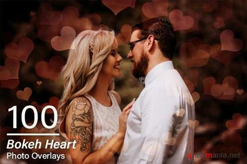 100 Bokeh Heart Overlays - 3107357