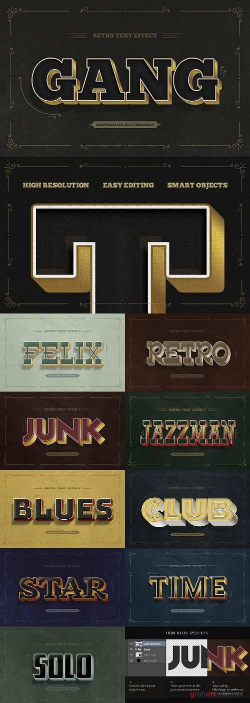 Retro Text Effects - 10 PSD 21303853