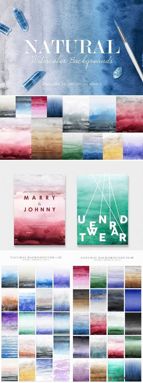 Natural Watercolor Ombre Backgrounds - 2924705