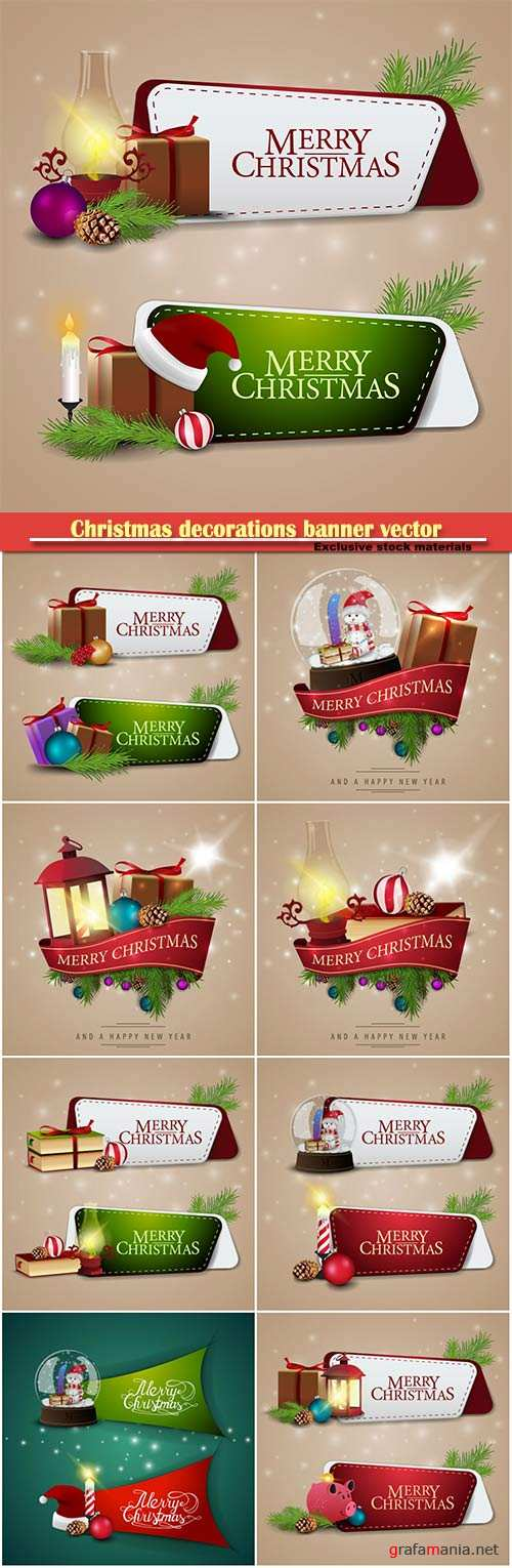 Christmas decorations banner vector illustration