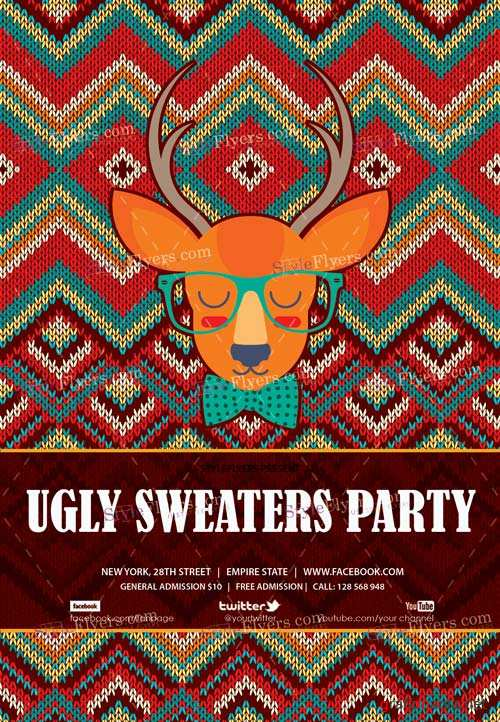 Ugly Sweaters Party V1 2018 Flyer PSD Template
