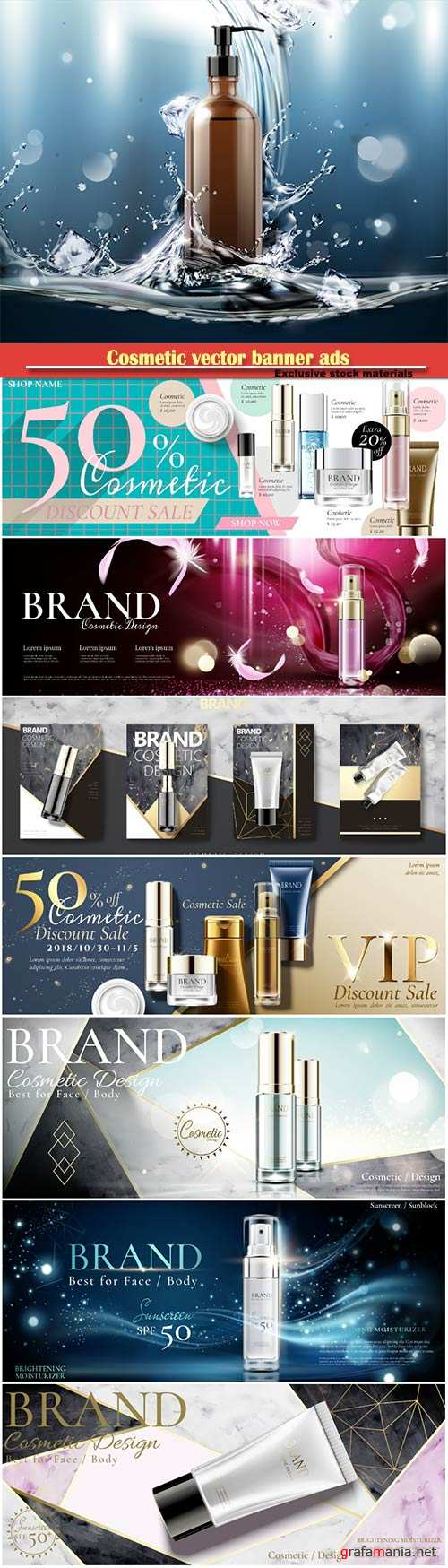 Cosmetic vector banner ads with spray bottle in 3d illustration