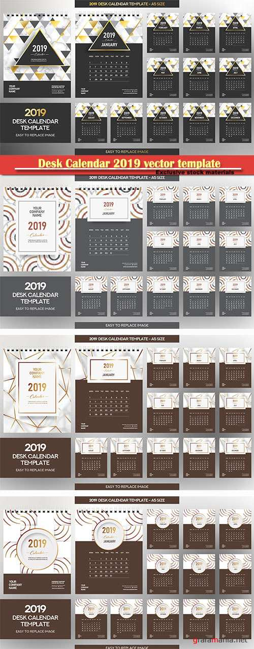 Desk Calendar 2019 vector template, 12 months included # 8