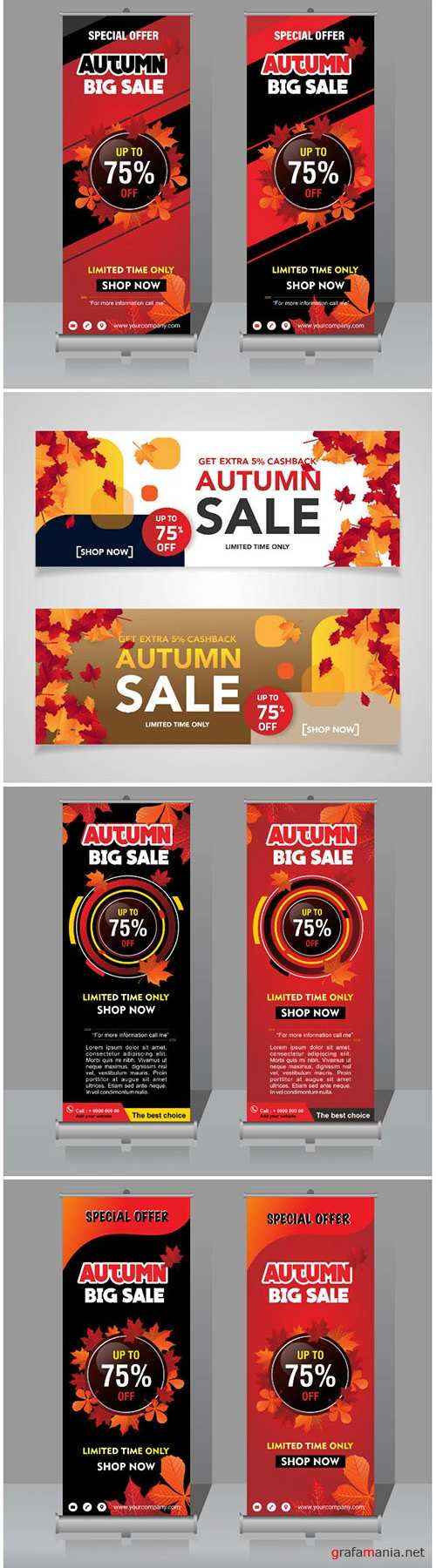 Autumn vector banner and roll-up template
