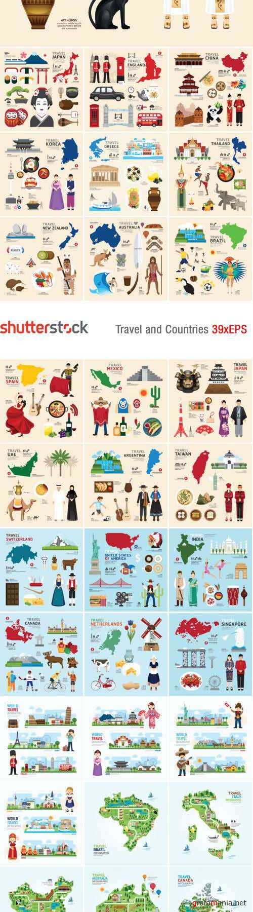 Travel & Countries Design Elements 39xEPS