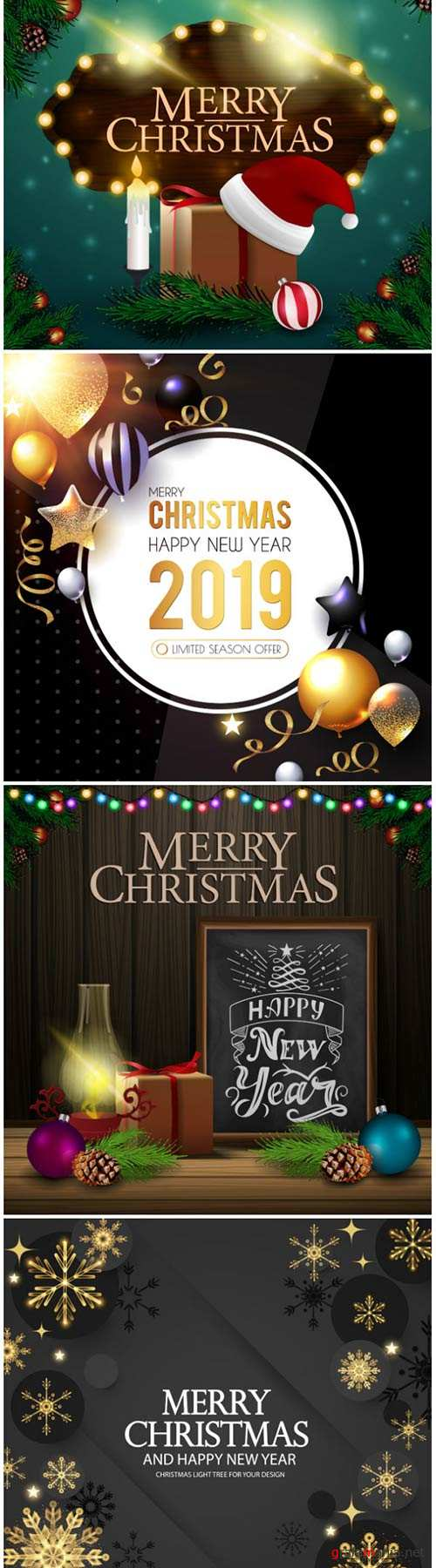 Christmas vector card with gifts and Santa Claus hat