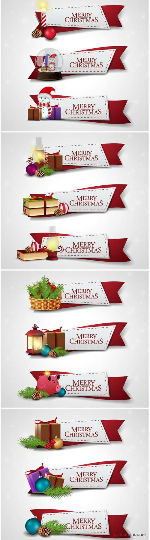 Christmas vector ribbons with cartoon Christmas icons