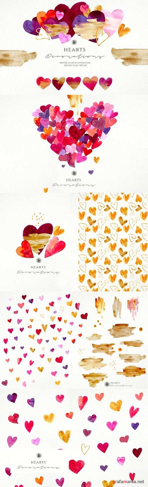 Hearts - watercolor illustrations - 3221567