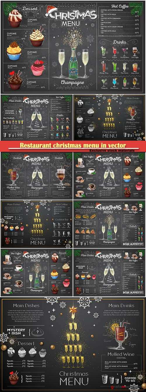 Restaurant christmas menu in vector, vintage chalk drawing  menu design with champagne