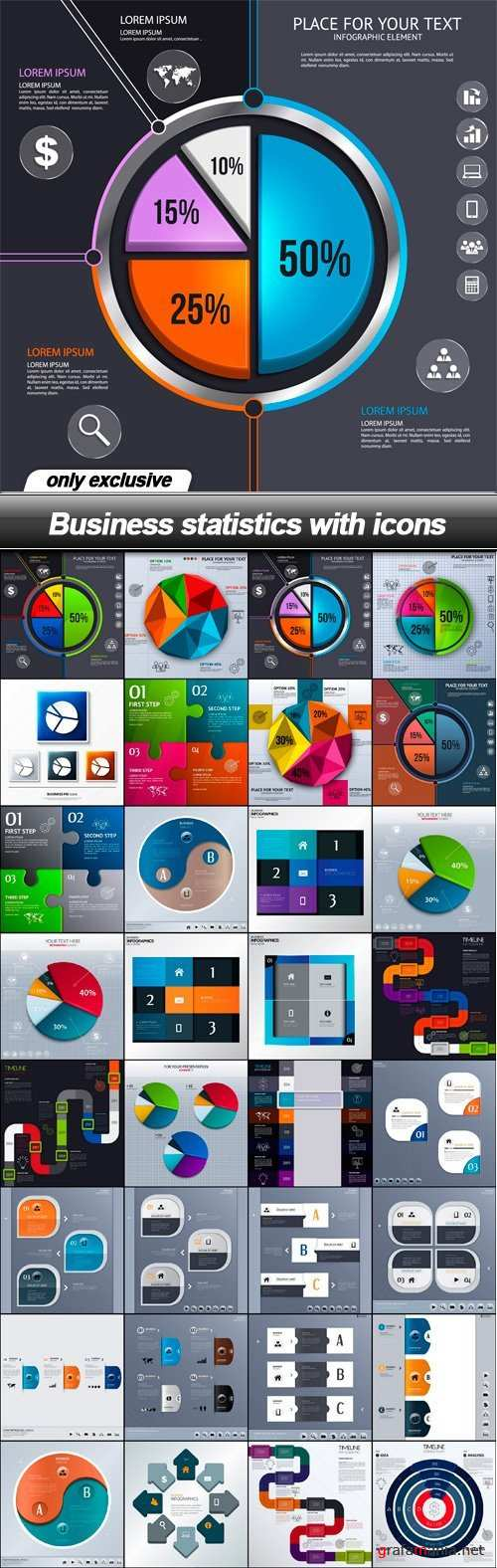 Business statistics with icons - 35 EPS
