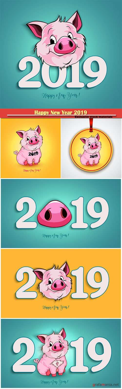 Happy New Year 2019 funny card design with cartoon pigs