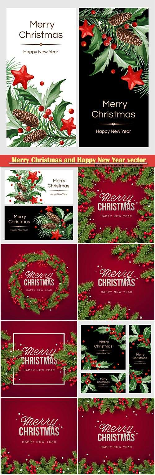 2019 Merry Christmas and Happy New Year vector design # 9