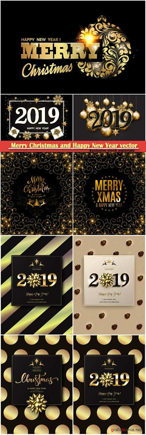 2019 Merry Christmas and Happy New Year vector design # 2