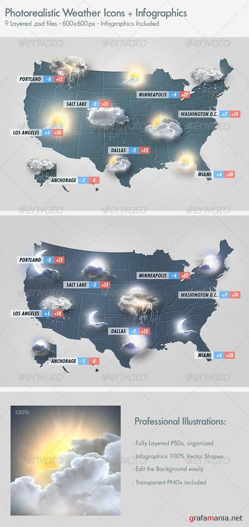 Photo Realistic Weather Icons Set - 2938495