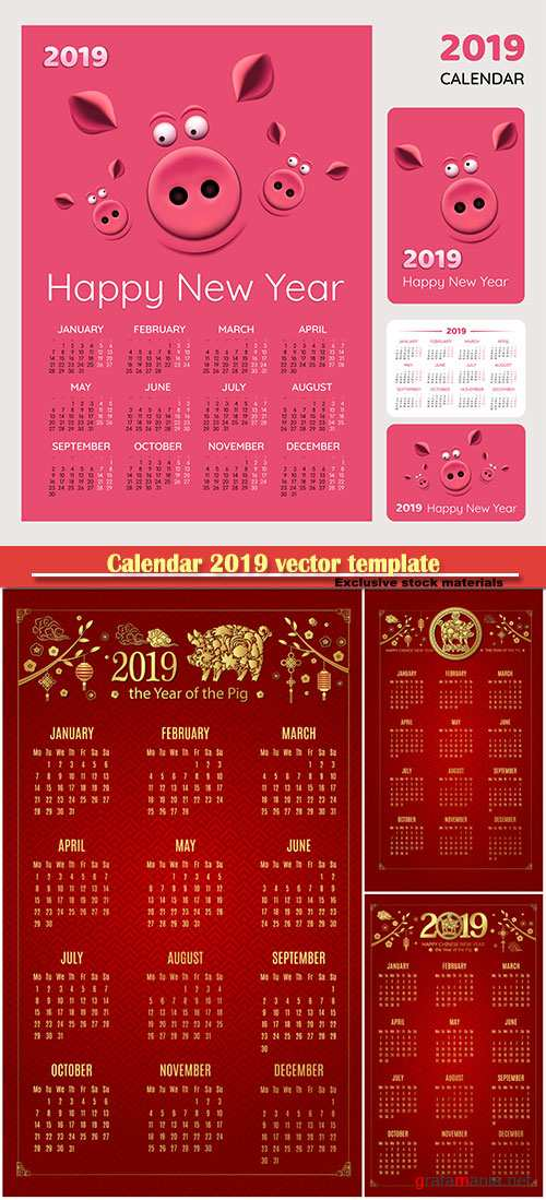 Calendar 2019 vector template, 12 months included # 2